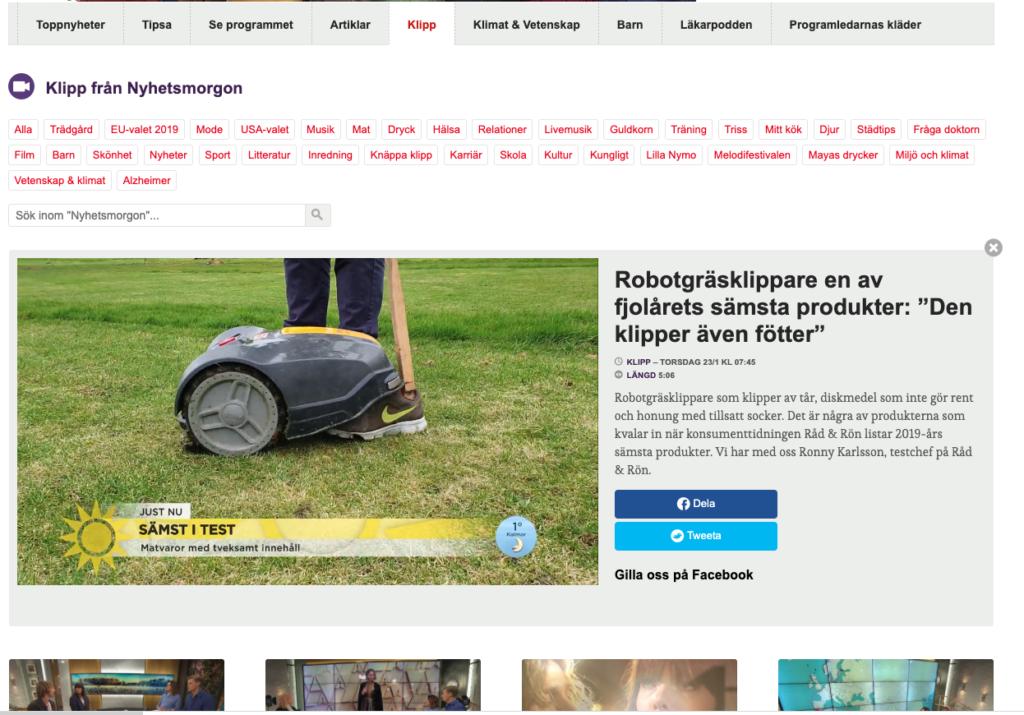 nyheter robotgräsklippare